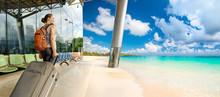 Woman Traveler Dreams On Beautiful Beach.