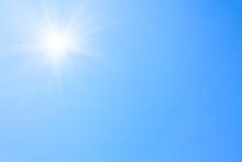 Shining Sun At Clear Blue Sky.