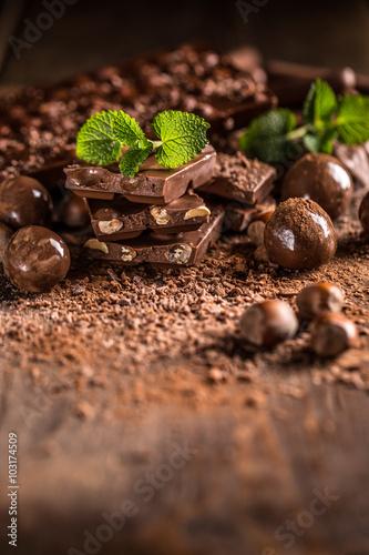 Foto op Canvas Klaprozen Pile of assorted chocolates