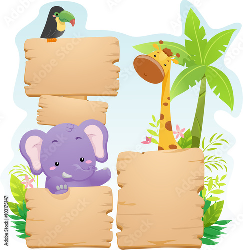 Colorful Jungle Animals Board