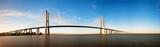 Beautiful panoramic image of the Vasco da Gama bridge in Lisbon, Portugal