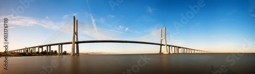 Beautiful panoramic image of the Vasco da Gama bridge in Lisbon, Portugal Wallpaper Mural