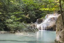 Erawan Waterfall At Erawan National Park In Thailand