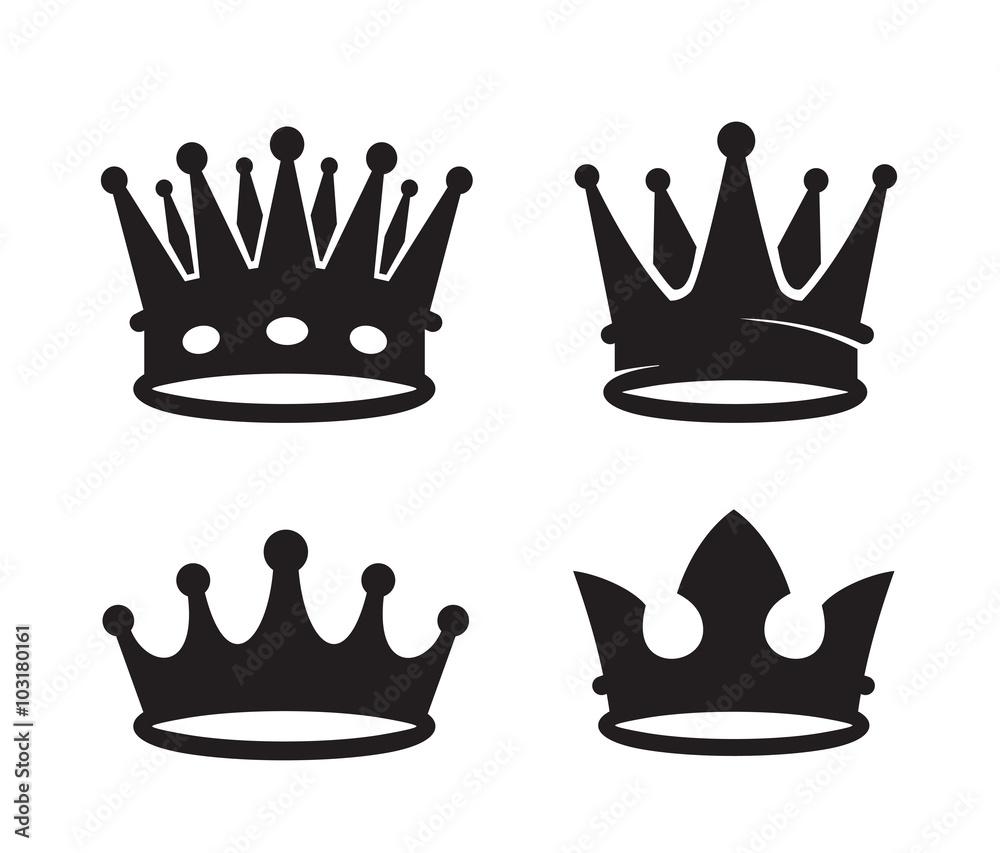 Fototapeta black crown icons