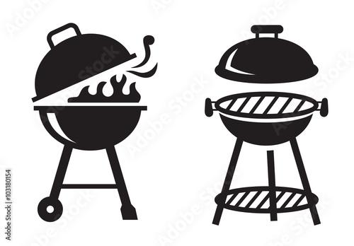 black BBQ Grill icons Fototapet
