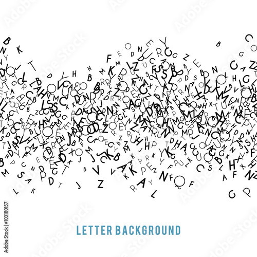 Fotografie, Obraz  Abstract black alphabet ornament frame isolated on white background