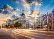 Madrid, Spain cityscape at Calle de Alcala and Gran Via.