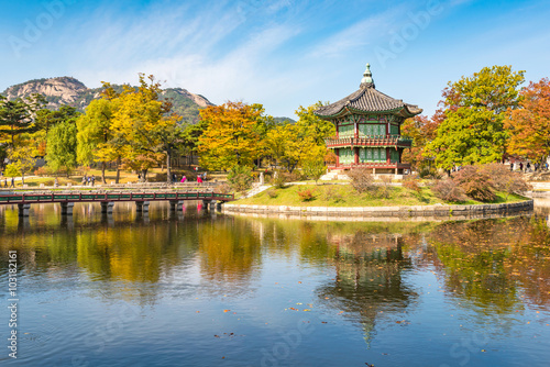 Photo sur Aluminium Seoul Autumn of Gyeongbokgung Palace in Seoul ,Korea