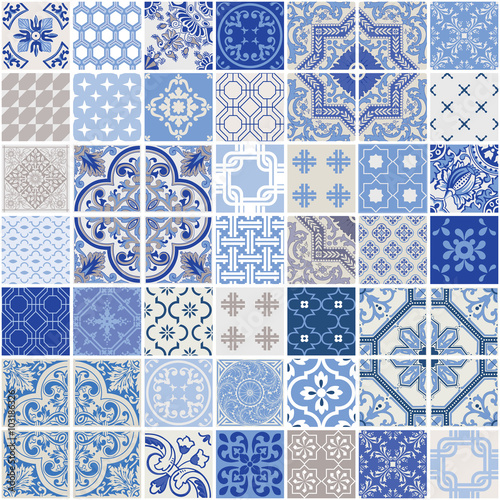 plakat Indigo Seamless Patchwork Pattern - Monochrome Tiles Set