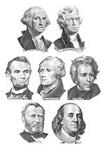Seven Presidents With Dollar Bills