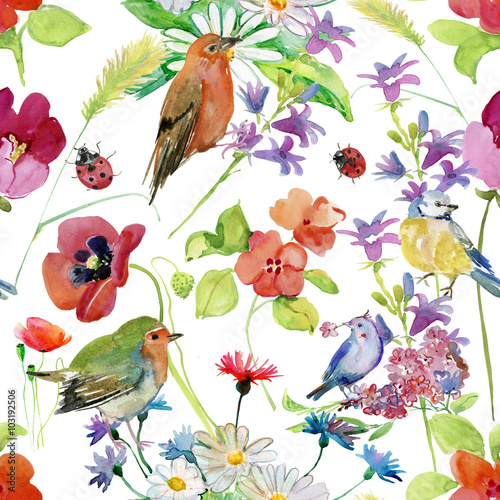 Poster Parrot Beautiful Watercolor Summer Garden Blooming Flowers Seamless Pattern on White Background