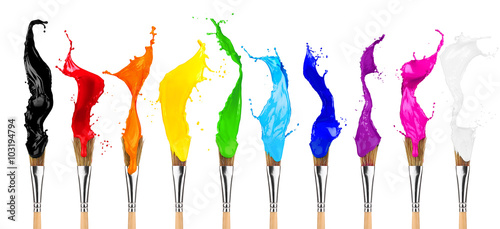 paintbrush row with colorful rainbow color splashes isolated on white background
