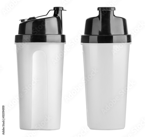 Fotografia  Plastic shaker isolated on white background with clipping path
