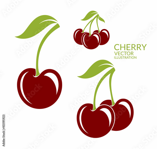Valokuva Cherry. Isolated berries on white background