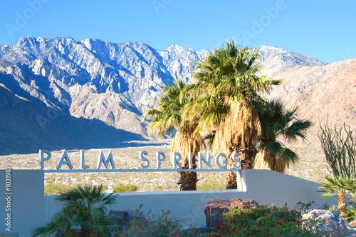 Photo Palm Springs California , USA-February 7th, 2016:Palm Springs Sign in Palm Sprin