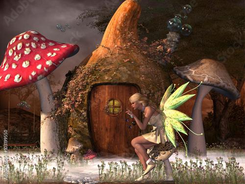 Plakat Fairy Belle - Fairy Belle gra z lecącymi muchami poza domem tykwy w magicznym lesie.