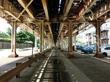 Under The Chicago CTA El Elevated Subway Track - Landscape Color Photo