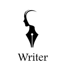 Vector Sign Writer. Fountain Pen, Head Of A Person