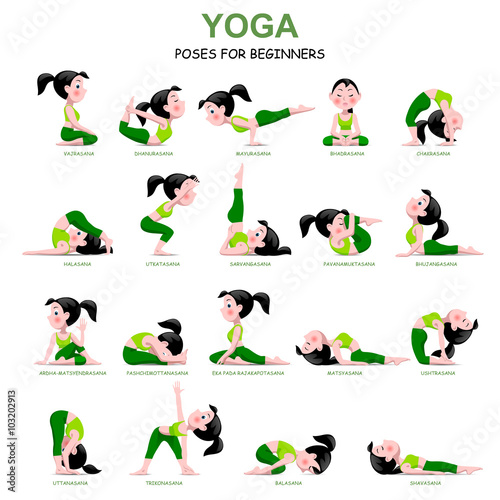 Fotografie, Obraz  Cartoon girl in Yoga poses with titles for beginners isolated on