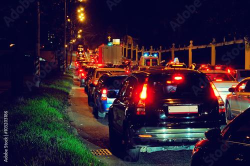 Photo Stands Motor sports Night traffic jam on a city street