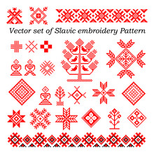 Vector Set Of Pattern Slavic Embroidery (24 Elements) - Stock Vector
