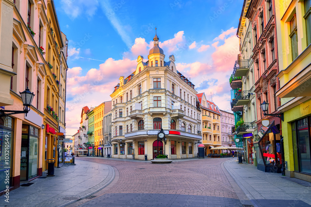 Fototapety, obrazy: Central pedestrian street in Torun, Poland