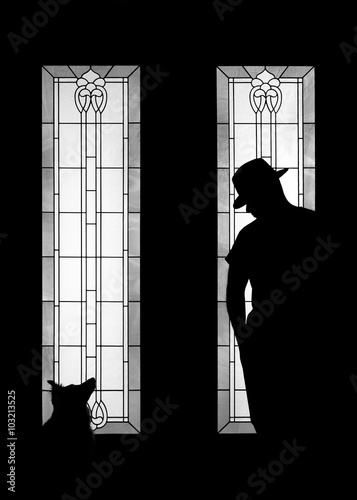 Fotografering  Man and dog silhouette wearing fashionable gangster mafia hat in decorative door