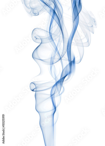 Fotografering  Blue Smoke Rising Over a White Background