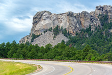 View Of A Highway Leading To Mount Rushmore National Monument In South Dakota