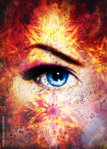 Fototapety, obrazy: Woman eye and mandala, Abstract color background and desert crackle.