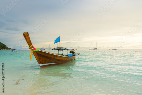 Fototapety, obrazy: Long tail boats lined along the beach in Koh Lipe island in Thailand