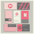 Set of coordinating business card designs with the letter m