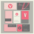 Set of coordinating business card designs with the letter v