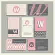 Set of coordinating business card designs with the letter w