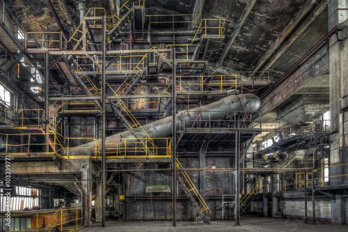 Decaying boiler room in an abandoned power plant - Buy this stock ...