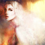 Beautiful woman portrait. Hand painted fashion illustration - 103241714