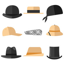 Mens Hats Set. Isolated Objects On White Background.