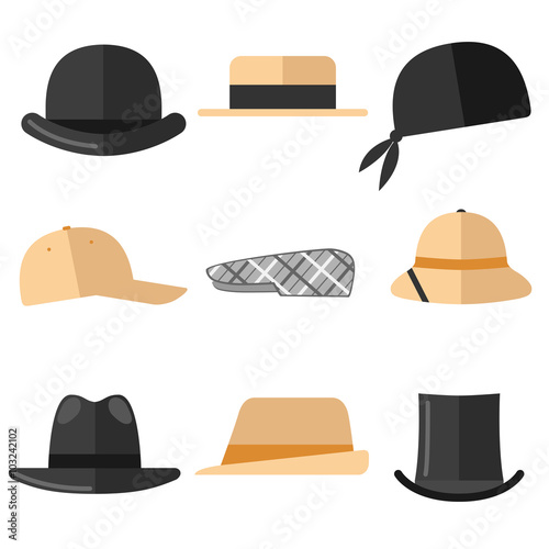 Mens hats set. Isolated objects on white background. Canvas Print