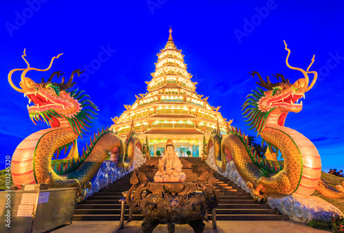 Wall Murals Place of worship Wat Hyua Pla Kang in Chinese style, Chiangrai province of Thailand