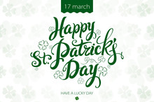 Happy Patrick Day Vintage Lettering Background
