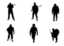 Six Soldiers Silhouettes
