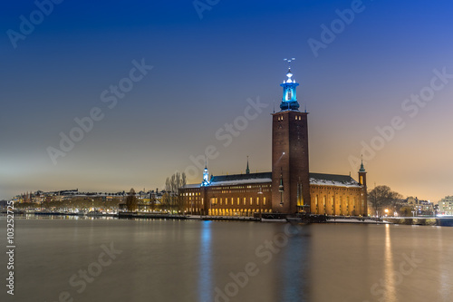 Photo  Stockholm city by night. City Hall