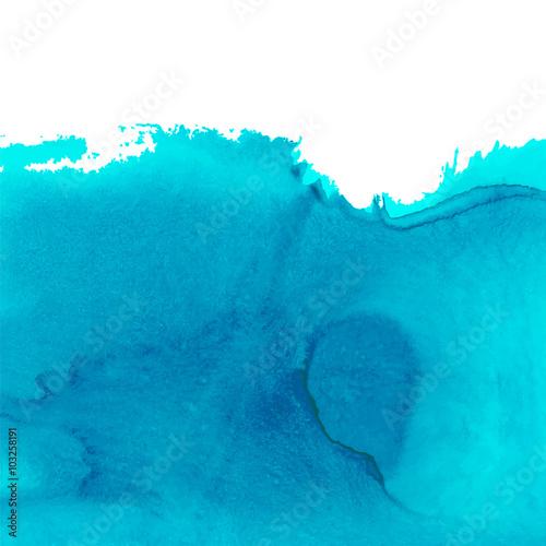 Akwarela niebieskie tło, morze, woda, fala, miejsce na tekst