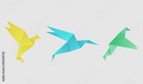 Origami Bird Vector Set Ilration Template For Your Logo Design Background Polygon Style