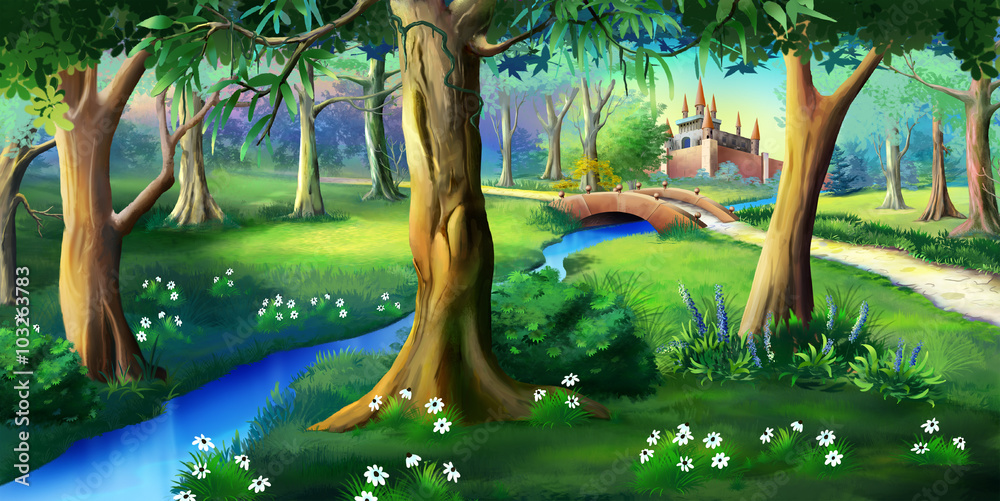 Fototapeta Magic Forest Around the Fairytale Castle