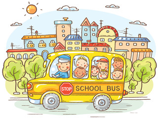 Fototapeta Środki transportu School bus with happy kids in the city