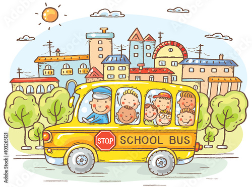 School bus with happy kids in the city - 103265121