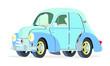 Caricatura Renault 4CV Commerciale azul vista frontal y lateral