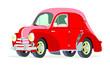 Caricatura Renault 4CV Commerciale rojo vista frontal y lateral