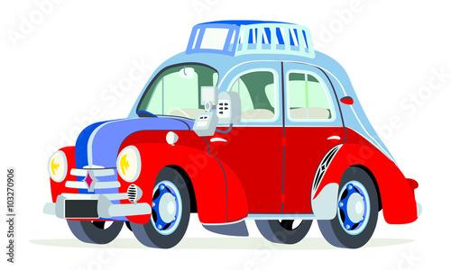 Stampa su Tela Caricatura Renault 4CV taxi París - Francia vista frontal y lateral
